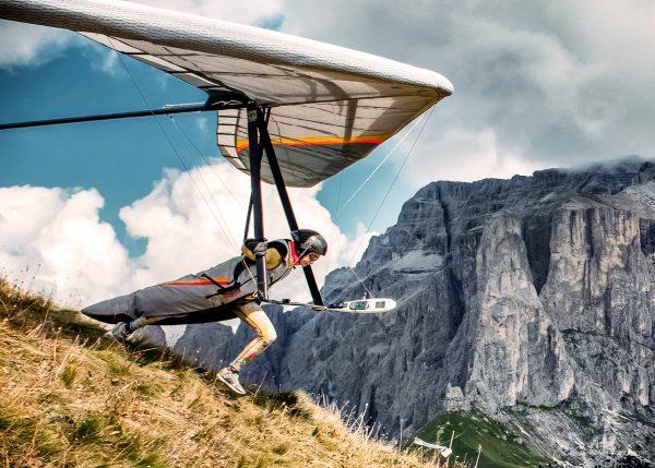 Hang Gliding Take Off at Col Rodella