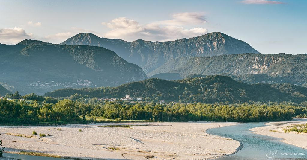 The ridge of Monte Flagjel - Monte Cuar together with azure waters of Tagliamento